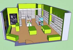 Mostrador y mobiliario auxiliar en madera color