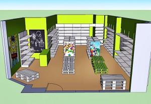 Sistema mural autoportante para dividir la zona del almacen